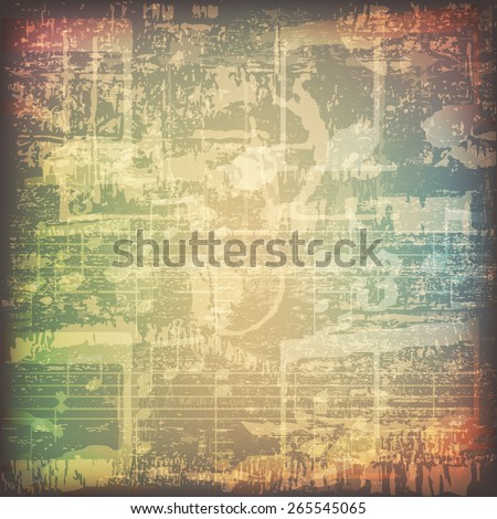abstract grunge cracked music symbols vintage background - stock vector