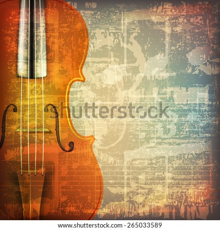 abstract grunge cracked music symbols vintage background with violin - stock vector