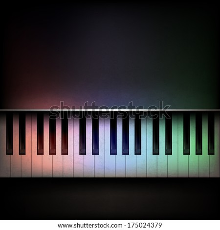 Abstract grunge dark music background with piano - stock vector