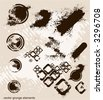 abstract grunge elements, eroded retro circles & cubes ,ink blots,usefull  in design,vector - stock vector