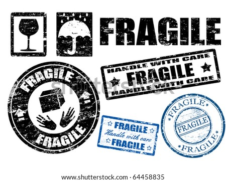 Abstract grunge fragile signs and stamps,vector illustration - stock vector