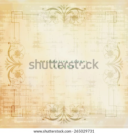 Abstract grunge frame with stylized flowers and leaves - stock vector