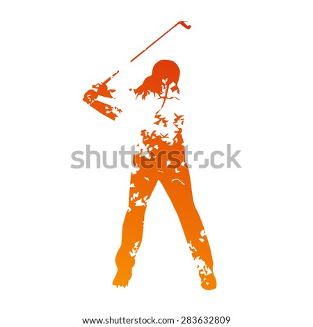 Abstract grunge golf player - stock vector