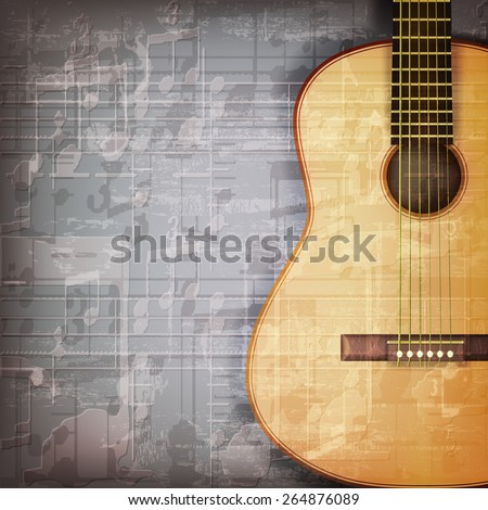 abstract grunge gray music background with acoustic guitar