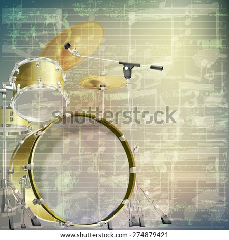 abstract grunge green cracked music symbols vintage background with drum kit - stock vector