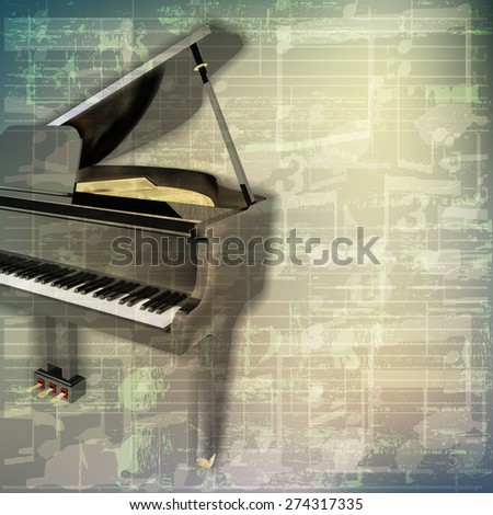 abstract grunge green cracked music symbols vintage background with grand piano - stock vector