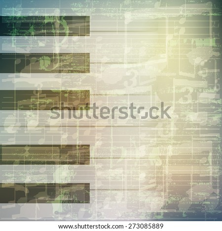 abstract grunge green cracked music symbols vintage background with piano keys - stock vector