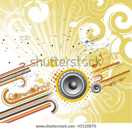 abstract grunge illustration on a musical theme, vector illustration - stock vector