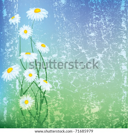 abstract grunge illustration with flowers on blue background - stock vector