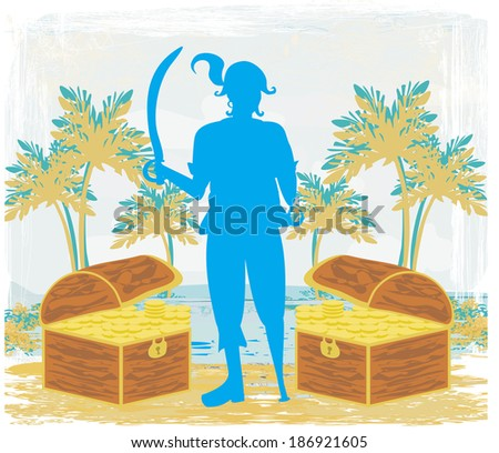 abstract grunge illustration with pirate and chest full of gold - stock vector
