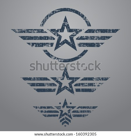 Abstract grunge military star emblem set on gray background - stock vector