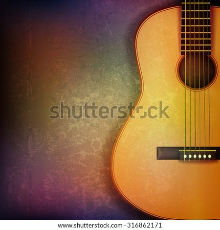 abstract grunge music background with acoustic guitar vector illustration - stock vector