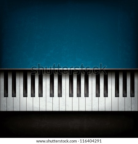 Abstract grunge music background with blue piano - stock vector
