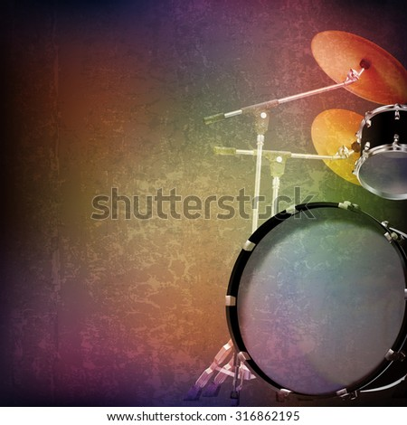 abstract grunge music background with drum kit on brown vector illustration - stock vector
