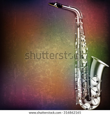 abstract grunge music background with saxophone on brown vector illustration - stock vector