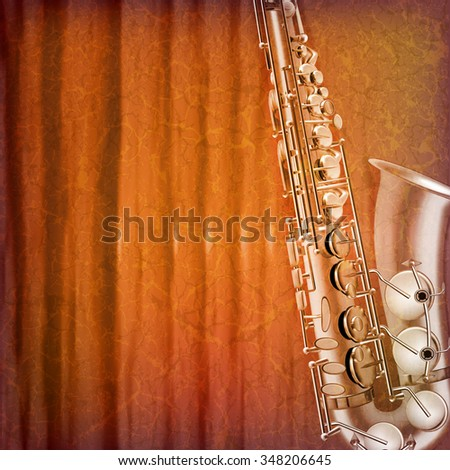 abstract grunge music background with saxophone vector illustration - stock vector