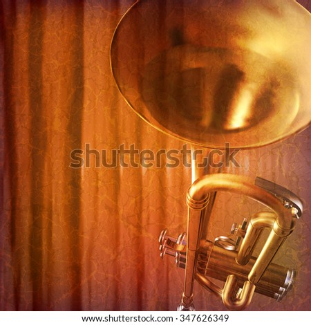 abstract grunge music background with trumpet vector illustration
