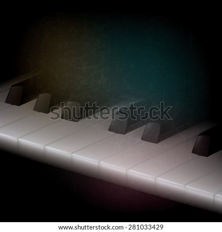 abstract grunge music dark background with piano keys - stock vector
