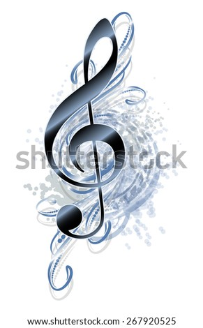 Abstract grunge musical background with treble clef.  - stock vector