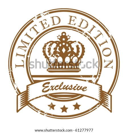 Abstract grunge office rubber stamp with small stars and the word Limited Edition - Exclusive written inside the stamp - stock vector