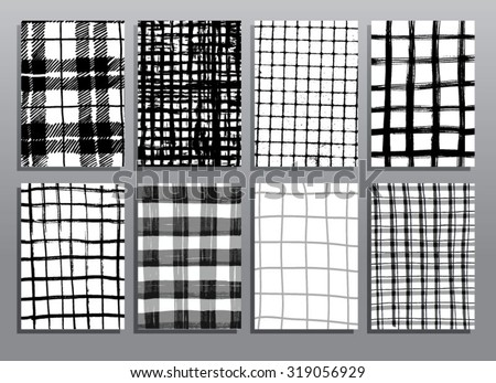 Abstract grunge pattern checkered textures. Vector illustration set. - stock vector