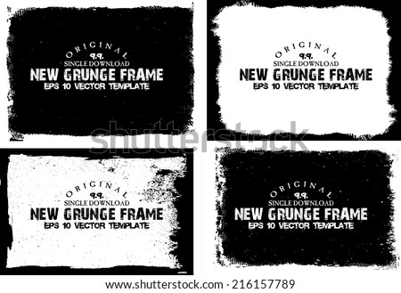 Abstract grunge photo frame set. Background vector texture - stock vector