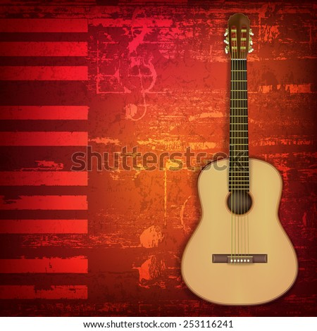 abstract grunge piano background with acoustic guitar - stock vector
