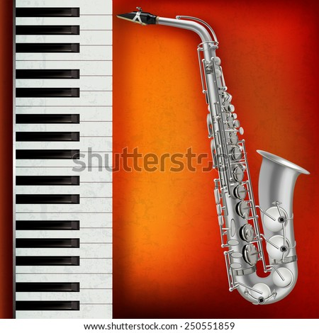 abstract grunge red background with saxophone and piano - stock vector