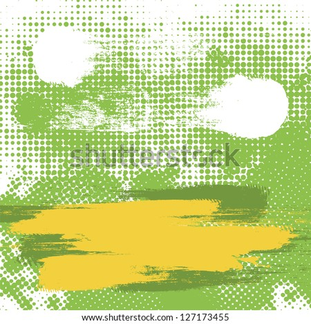 Abstract Grunge rough spot halftone vector background. - stock vector