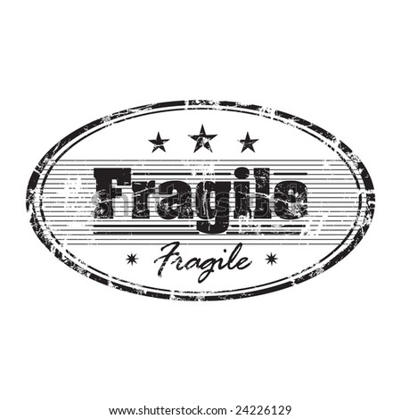 Abstract grunge rubber office stamp with small stars and the word fragile written in the middle - stock vector
