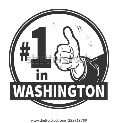 Abstract grunge rubber stamp or label with text Number One in Washington written inside, vector illustration