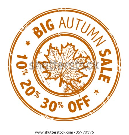 Abstract grunge rubber stamp with leaf and the words Big Autumn Sale written inside the stamp, vector illustration - stock vector