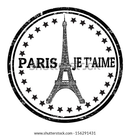 Abstract grunge rubber stamp with the Eiffel Tower symbol and the name Paris written inside, vector illustration - stock vector