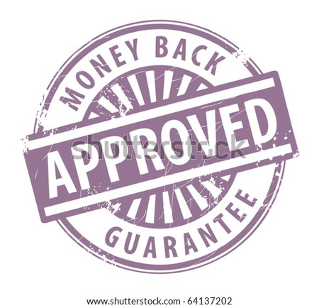 Abstract grunge rubber stamp with the word Approved - money back guarantee written inside the stamp, vector illustration - stock vector