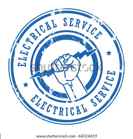 Abstract grunge rubber stamp with the words Electrical Service written inside, vector illustration - stock vector