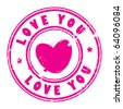Abstract grunge rubber stamp with the words love you written inside the stamp, vector illustration - stock photo