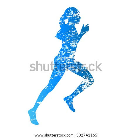 Abstract grunge running woman silhouette - stock vector