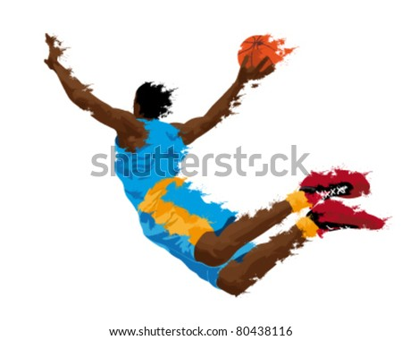 abstract grunge silhouette of a basketball player - stock vector