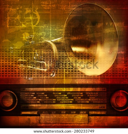 abstract grunge sound background with trumpet and retro radio - stock vector