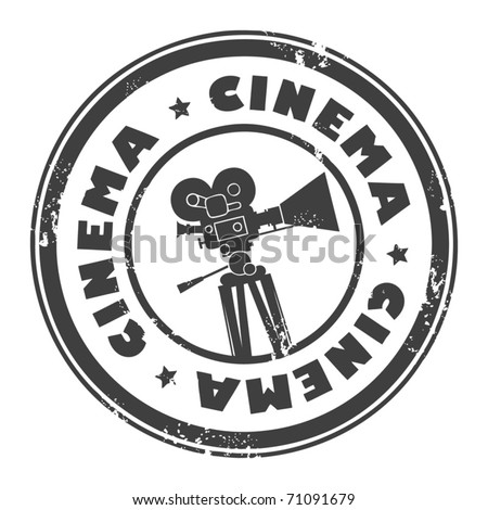 Abstract grunge stamp with movie camera and the word cinema inside, vector illustration - stock vector