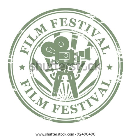 Abstract grunge stamp with movie camera and the word Film Festival, vector illustration - stock vector
