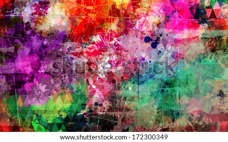 Abstract grunge style painting background with distressed effect - stock vector