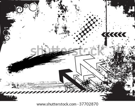 abstract grunge urban arrow on a white background - stock vector