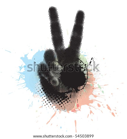 abstract grunge victory hand sign. vector illustration. - stock vector