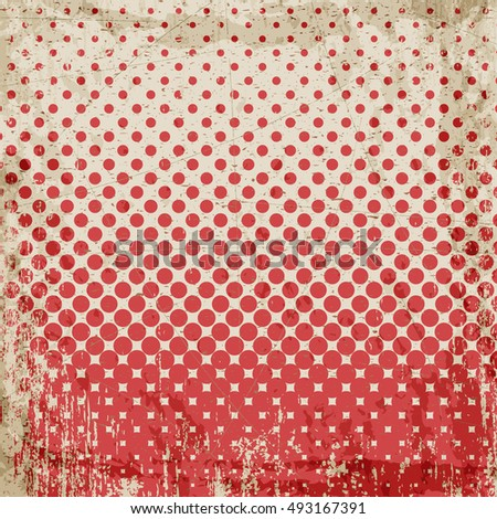 Abstract grunge vintage background of red dots. Evenly decrease size of circles.