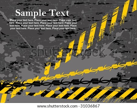 abstract grungy background with road sign and wire