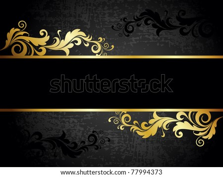 abstract grungy creative golden floral decorated frame - stock vector