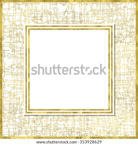 Abstract grungy modern poster with golden  pattern, golden frame and space for text.  Vector illustration.Shiny cover. Texture of gold foil. Festive banner. - stock vector