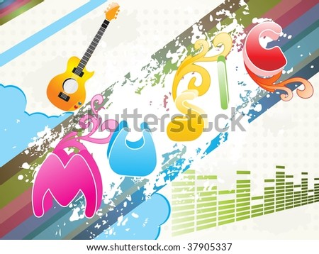 abstract grungy music background, vector illustration - stock vector