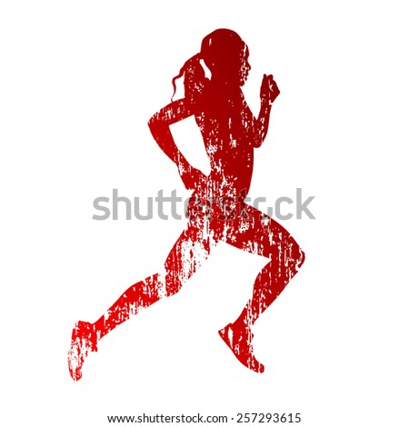 Abstract grungy running woman silhouette - stock vector